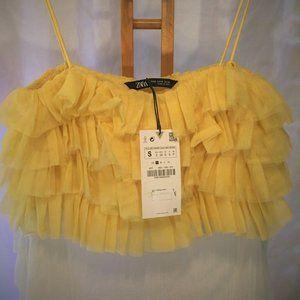 NWT Zara ruffled tulle tank crop top yellow Small